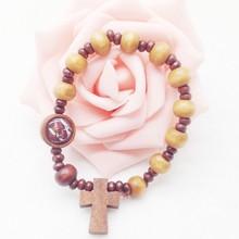 new bracelet jewelry christian wood rosary beads bracelet ,saint beads cross bracelet