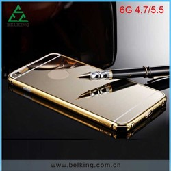 Luxury Chrome aluminum bumper back cover for iPhone 6 metal mirror case