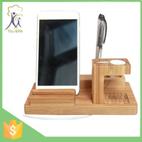 2015 3 in 1wood holder Promotional bamboo High Quality 100% Pure Wood Desk Stand Holder