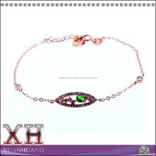 Hot Sale Sterling Silver Cubic Zircon Multicolor Stone Oval Shaped Bracelet