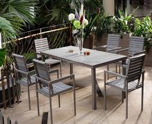 Venta caliente exterior madera de teca de comedor de mesa y una silla C697