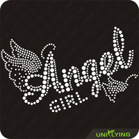 Custom wholesale rhinestone transfer iron on angel wings
