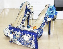 new fashion handmade blue rhinestone high heels shoes and bag set for party