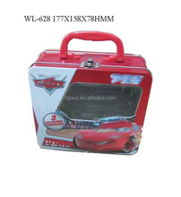lunch box with irregular shaped window and plastic handle and metal wire locker