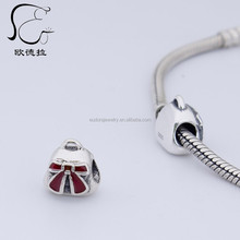 Mini beauty lady purse handbags charm silver beads with Red enamel