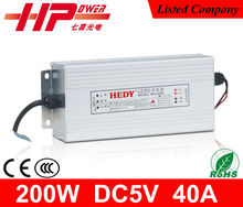 Manfacturer of Guangzhou ac dc power supply constant voltage single output 200 watt 40 ampere 5 volts switching adapter