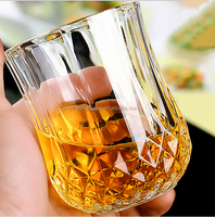 Factory direct sale special shape diamond cut whisky glass,engraved crystal whisky glass,round whisky glass
