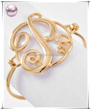 Gold Tone Metal Initial letter P Bracelet