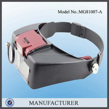 MG81007-A,LED Lighted Headband Magnifier Magnifying Visor With Extra Loupe