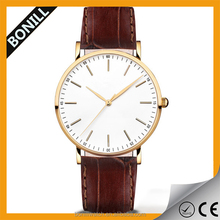 Minimal classic modern look stainless steel casing ultra thin slim leather watch