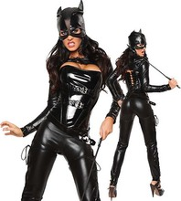 Disfraces Devil Cat Women Naughty Lacquer Leather Halloween Costumes Catwoman PVC Dress Sexy Lingerie Costume Latex Catsuit