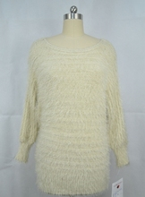 White Crew Neck Long Sleeve Cashmere Stylish Design Sweater Knitwear