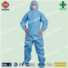 2015 hot sale disposable Multi Ply SMS Fabirc strong liquid and particle barrier Coverall