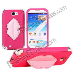 New Style Sexy Lip Kickstand Cross Pattern Leather Case for Samsung N7100 Galaxy Note2