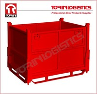 Nestable Powder coating mesh roll container (L1000*W800 mm/OEM)