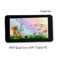 """7"""" tablet Allwinner A33 Quad Core wifi Tablet PC 7inch Android 4.4 KitKat Bluetooth front and rear Cameras"""