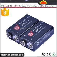Soshine high quality 260mAh Ni-MH 9v rechargeable battery