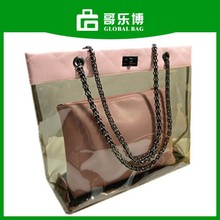 2015 New Promotion Stock Ladies Multicolors Transparent No MOQ Chain Beach Bag