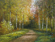 High Quality Birch Trees Linen canvas oil painting