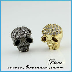 Skull Beads Crystal Pave Sideway Spacer Bracelet Connector Silver