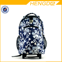 Lightweight Durable Nylon Wheeled School Backpack With Flower Printing