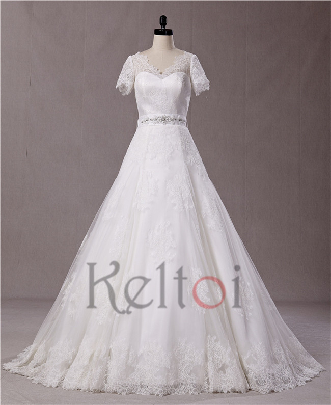 Design your own wedding dress with short sleeve for for Design ur own wedding dress