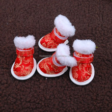 Embroidery red cotton dog shoes, China style pet dog shoes for walking, whole outdoor waterproof dog sock dog shoe