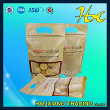 durable transparent plastic bag for rice packaging with handle for promotion