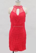 Nouveau mode mesdames ballroom latine robe, Sans manches fringe moderne latine vêtements de danse