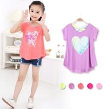 4552# Children printed t-shirt 2015 Stock Clothing wholesale girls sweet t-shirt