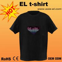sound activated o neck led glowing t-shirt/flashing tshirt/el tshirt