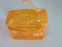 pvc cosmetic gift bag Handle plastic make up foldable box for travel products
