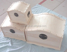 set of 3 wooden box old fashion treasure chest