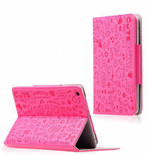 Lovely girl cartoon pattern pu leather case for ipad mini cover