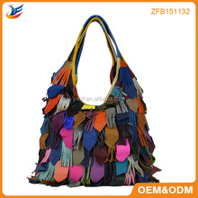Fashion Ladies Suede Leather Color stitching handbag for Women