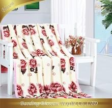 Polyester Microfiber Blanket HRM Bedding Set Peony Floral Printing Bedding Blanket Set China Fashion Vintage Quilt