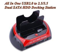 All In One USB2.0 to 2.5/3.5 Dual SATA HDD Docking Station