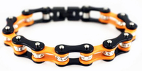 stainless steel motorcycl orange and black chain bracelets with crystals for women
