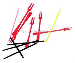 Colorful Plastic Fruit Pick&Stick / hot sell plastic fruit pick toothpick