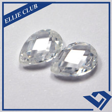 10*7mm Factory Price Pear Double Sides Checker Cut White CZ stone work in dress
