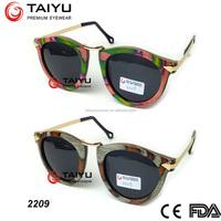 Retro Newest design Wooden sunglasses Free logo italian Brand colorful wooden sunglasses online sales CE12312-1:2013(2209
