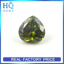 faceted cz olive heart cubic zircon gems hot sale fashion zircon