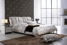 luxury flowery white leather bed, modern bedroom furniture A050, high head board