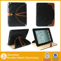 Made in China real leather pouch case for ipad 4 ,stand cover for ipad