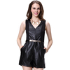 Tank Sleeve Sexy Deep V-neck with Belt Leather Rompers Women Jumpsuit