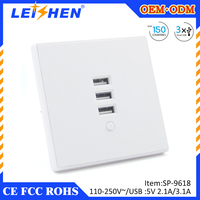 New Hot sales germany USB Socket with three USB LAN/ WAN port USB Wall Charger Wholesale with Rohs