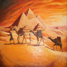 Hot sell high quality Egpt camel pyramid oil painting