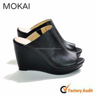 MKW298-11 Women ladies high heel open toe platform wedge pumps slippers
