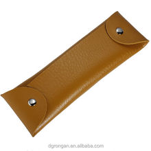China wholesale brown promotion PU leather school office pen / pencil pouch / holder / case F06-004
