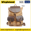 6819 Fashion Casual Cute Khaki Canvas Leather School Backpack for Teenage girls Cover Laptop Magazine